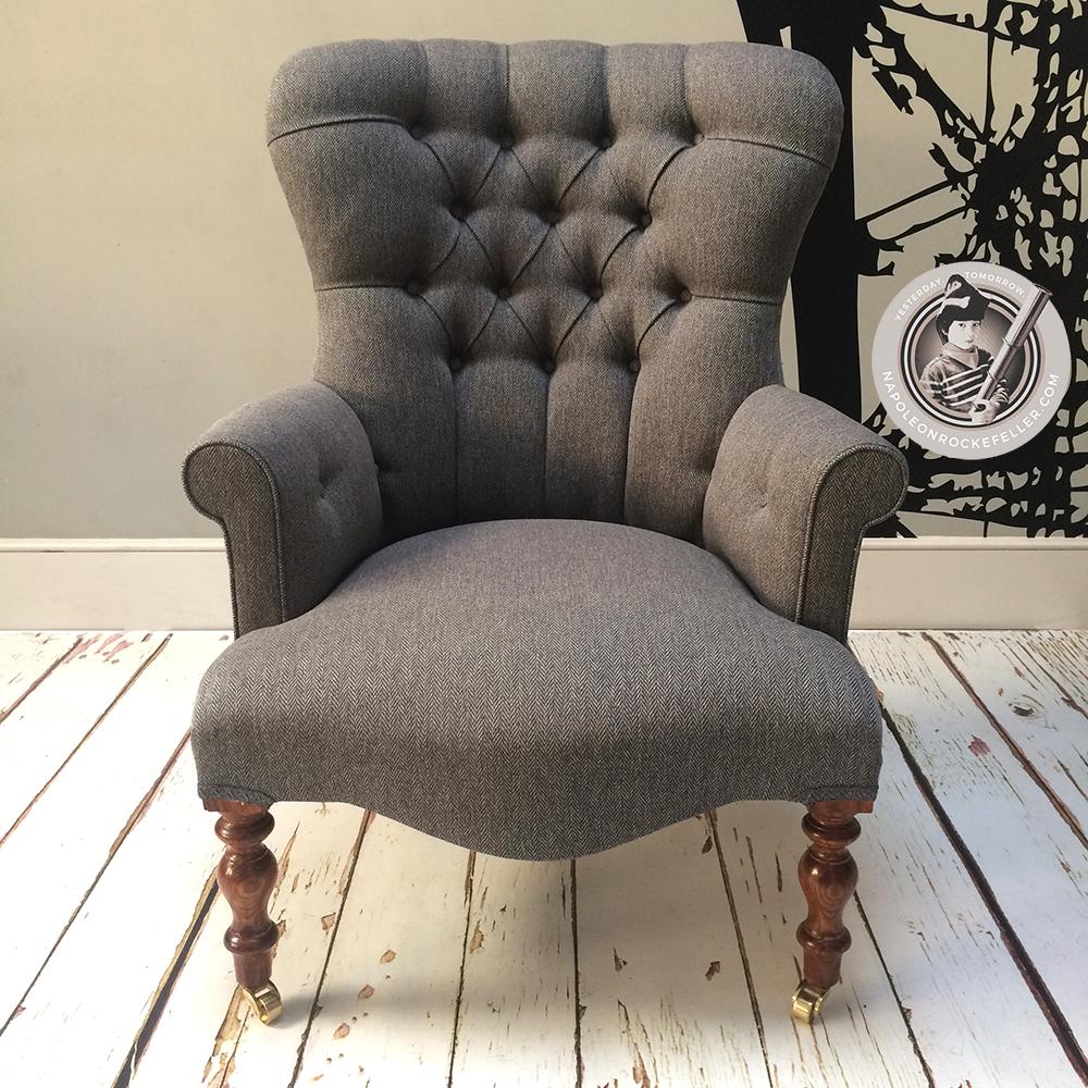 Brown Chair Grey Tweed Herringbone Library Bedroom