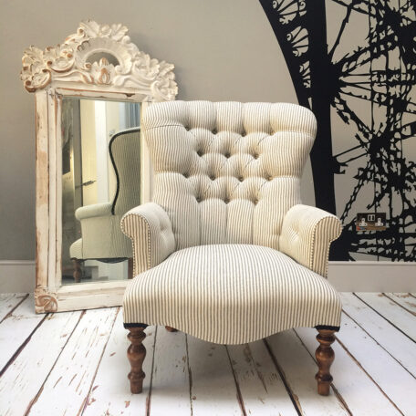 Armchair|Ticking|Eclectic decor|Interiors|Interior design|Sofas|Chairs|Seating|London home decor|London sofas|Armchairs|Putney|Clapham|Hampton Court|Ham|Clapham|Fulham|Cobham|Weybridge|Leeds|Edinburgh|Chelsea|WC1|WC2|SW1|SE1|SE2|Bath|Dorset|Somerset|Devon|Portobello|Mayfair