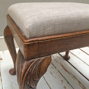 Grey stool| grey upholstery| grey upholstered stool|light grey stool| grey dressing room stool| dressing room stool| piano stool| vintage stool| upholstered stool|upholstered furniture| home decor| Wimbledon upholstery|London upholstery| bespoke stool|interior design|interiors| London furniture| Wimbledon furniture| Upholstered chairs|upholstered seating