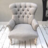 Grey armchair|Grey herringbone|Grey armchair|grey chair|grey sofa|grey interiors|bespoke chair|upholstered chair| button back chair|herringbone|grey herringbone|home decor|London interiors
