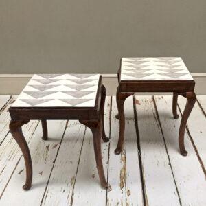 Geometric Pattern|geometric Painted|modern Designer|side Table| Coffee Table|  Pair