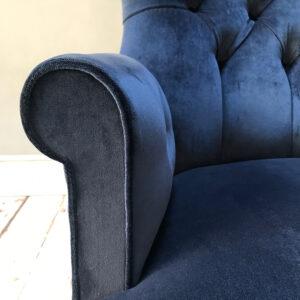 Kobe|Midnight blue|blue velvet|dark blue|sofa|Armchair|bespoke|interiors|upholstery|Upholstered|lounge|living room|Velvet armchair|armchair|button back chair|tub chair|Prussian blue|seating|sofas|decor|homedecor|interior design|London interiors|London sofas|Wimbledon|Clapham|Fulham|Nottinghill|Portobello|Hampstead|Hampton Court|Epsom|Cobham|Guildford|Birmingham|York|Yorkshire|Edinburgh|Dundee|Leicester|Surrey|Chelsea|Chelsea interiors|Handmade chairs
