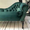 handcrafted seating | green velvet sofa | emerald velvet | green velvet sofas | hand made chairs | London sofas | London seating |London chairs | Chaise Longue | Chaise | Bespoke chairs | Napoleon Rockefeller