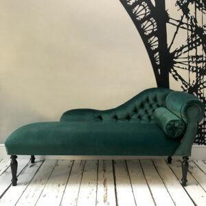 handcrafted seating | green velvet sofa | emerald velvet | green velvet sofas | hand made chairs | London sofas | London seating |London chairs | Chaise Longue | Chaise | Bespoke chairs | Napoleon Rockefeller