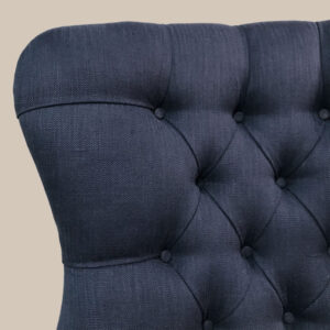 Navy|Blue|Romo|Linen|Armchair|Handcrafted|Seating|Chair|Bespoke|Lounge chair|Interiors|Interior style|Bedroom chair|Living room|Boudoir|Home decor|London